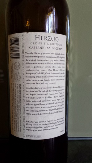 2009 Herzog Cabernet Sauvignon, Clone Six, Chalk Hill - back label