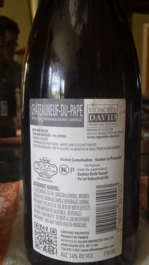 2011 Vignobles David Chateauneuf du Pape, Les Masques - back label