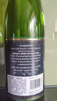 2012 Hagafen White Riesling, Devoto Vineyard - back label