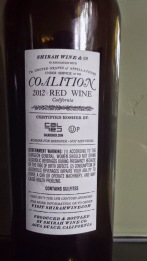 2012 Shirah Coalition - back label