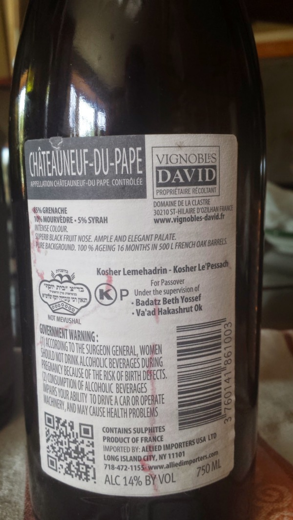 2012 Vignobles David Chateauneuf du Pape, Les Masques - back label