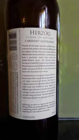 2009 Herzog Cabernet Sauvignon, Clone Six, Special Edition - back label