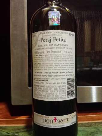 2012 Capcanes Peraj Petita - back label