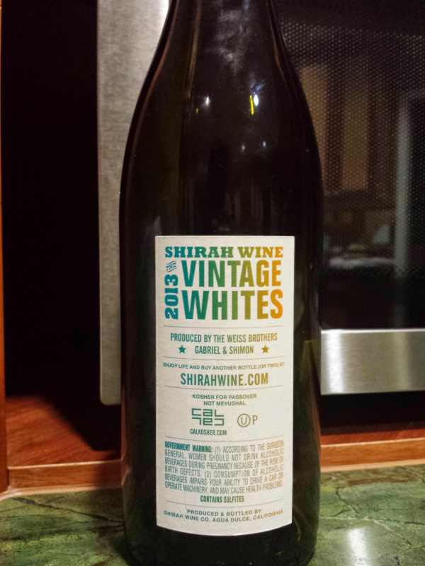 2013 Shirah Vintage Whites - back label