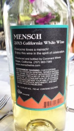 2013 Mensch white - back label