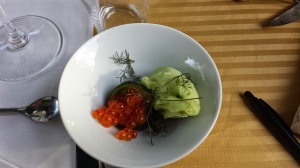 Course #4 Salmon Roe, Gin Cucumber Sorbet, Gin Infused Cucumber, Bronze Fennel