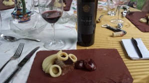Course #9 Coffee rubbed pastured boneless Beef short rib with potato puree, funyuns, and braised red wine cippolini onions and 2007 Herzog Cabernet Sauvignon, One Over VII, Napa Valley
