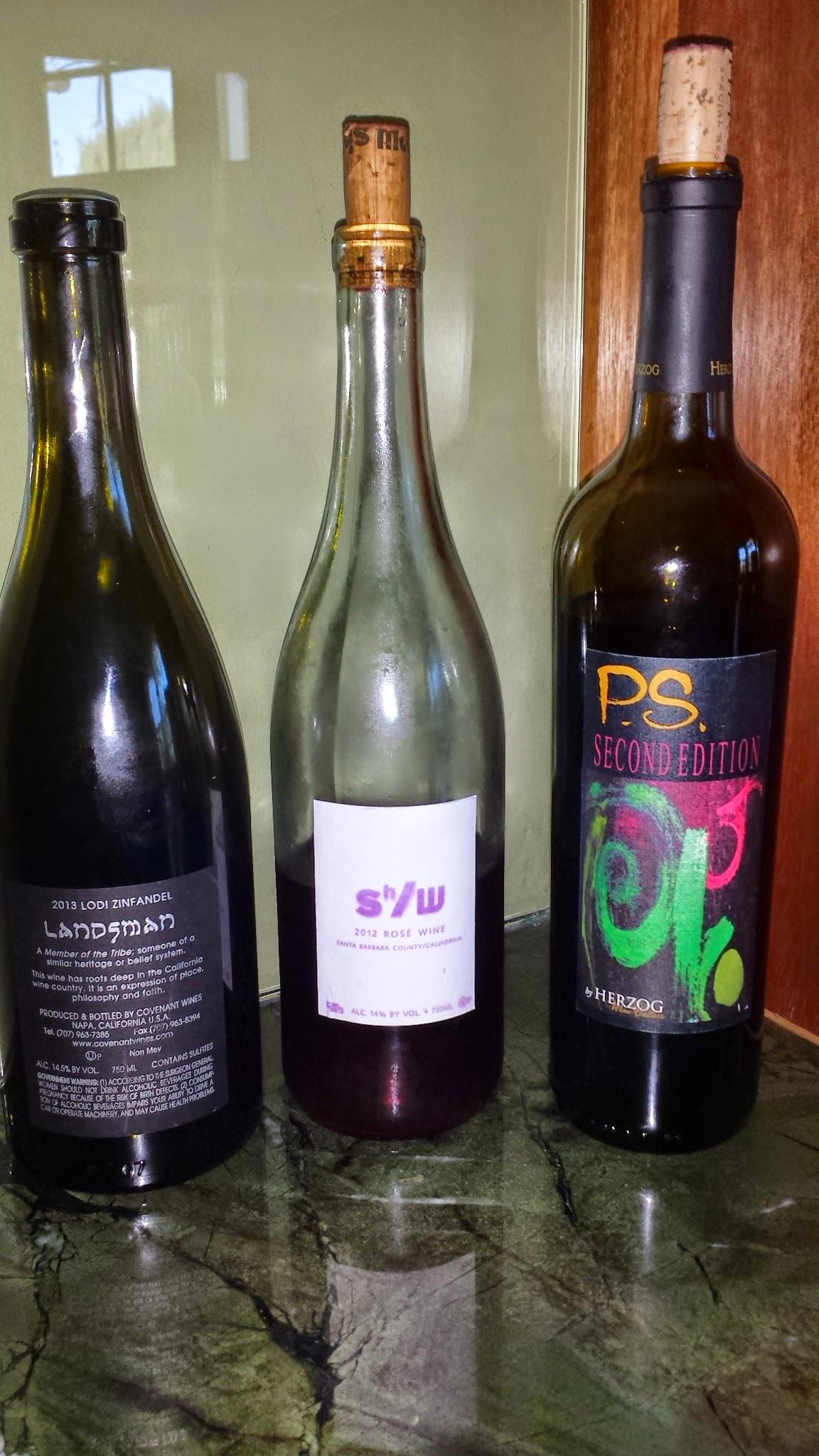 2013 Landsman Zinfandel, 2012 Shirah Rose, and 2009 Herzog PS2