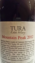 2012 Tura Mountain Peak - back label