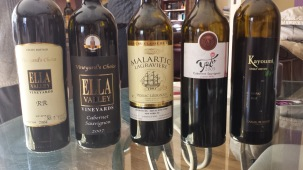 2004 Ella Valley RR, 2007 Carmel Shitaz Kayoumi Single Vineyard, 2007 Ella Valley Cab Vineyard Choice, 2005 Yatir Cabernet Sauvignon, 2003 Malartic Lagraviere