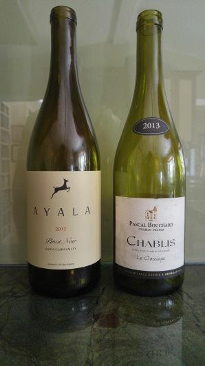 2013 Pascal Bouchard Chablis Le Classique and 2012 Four Gates Pinot Noir Ayala 2