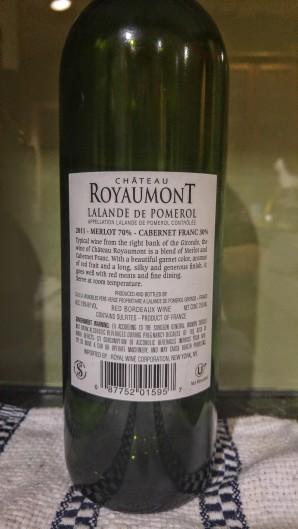 2011 Chateau Royaumont - bl