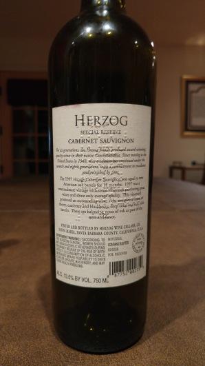 1997 Herzog Caberney Sauvignon, Alexander Valley - bl