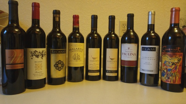 Wine lineup (mins the 2010 wines)
