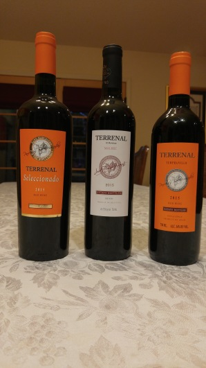2015 Terrenal Malbec from Argentina, 2015 Terrenal Tempranillo from Yecla Spain, and 2015 Terrenal Seleccionado