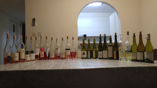 Picture of all 26 wines in blind tasting