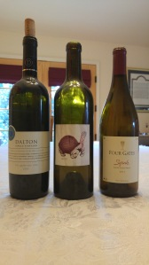 2012 Dalton Semillon, Elkosh Vineyard, 2011 Hajdu Proprietary Red, Howell Mountain Napa Valley, 2013 Four gates Syrah