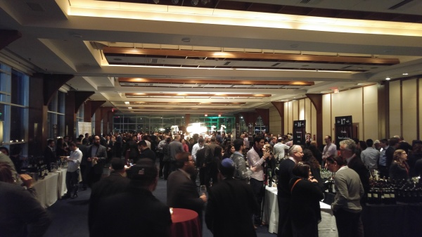 wine-tables-at-kfwe-nyc-vip-2017-empty-with-food-tables-packed