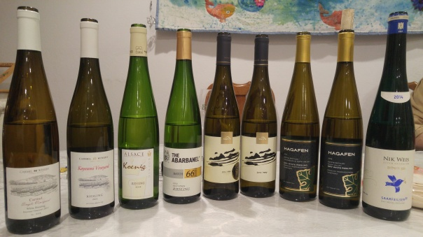 2012-and-2014-carmel-riesling-kayoumi-2014-koening-riesling-2012-abarbanel-riesling-batch-66-2014-and-2015-tabor-shahar-riesling-adama-ii-2014-hagafen-dry-riesling-2016-hagafen-dry-riesling-201