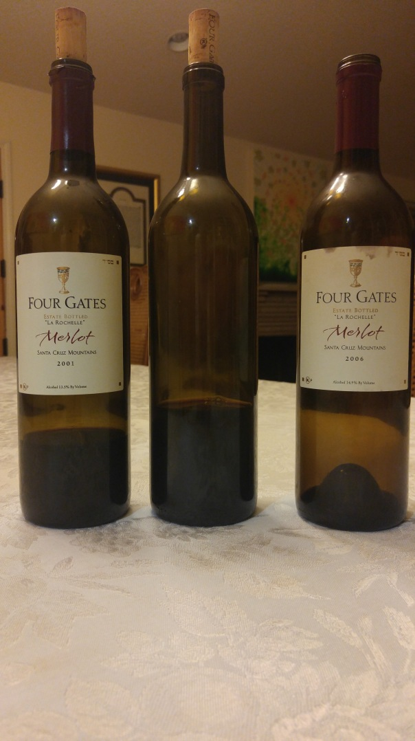 2001 Four Gates Merlot, La Rochelle, 2005 Four Gates Merlot, M.S.C, and 2006 Four Gates Merlot, La Rochelle