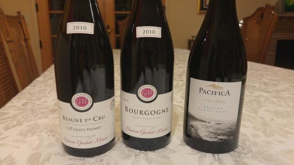 Pacifica 12 Pinot Noir, 2010 Gachot Monot Cote de Nuits-Villages, 2010 Gachot Monot Beaune 1er Cru, Les Cents Vignes