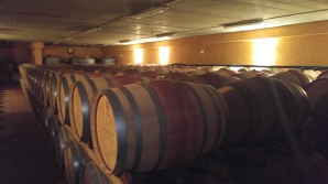 Flam Winery's barrel room
