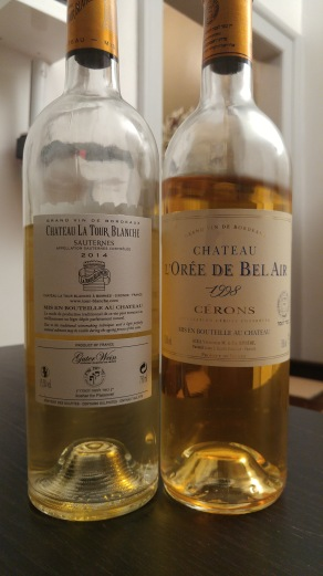 2014 Chateau La Tour Blanche - back label, 1998 Chateau L'oree de Bel Air, Cerons