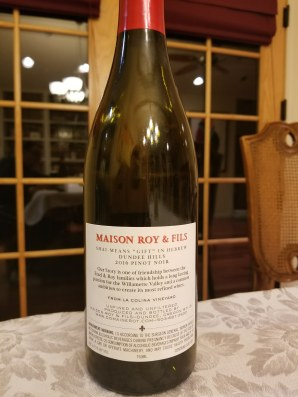 2016 Maison Roy & Fils Shai Pinot Noir, Willamette Valley - back label