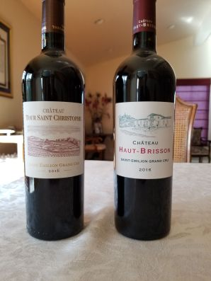 2016 Chateau Haut Brisson and 2016 Chateau Tour Saint Christophe