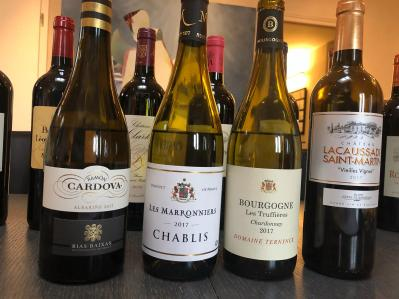 2017 Ramon Cardova Albarino, 2017 Les Marronniers, Chablis, 2017 Bourgogne Les Truffieres, Chardonnay, 2017 Chateau Lacaussade Saint-Martin 2