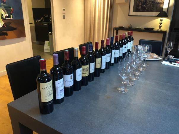 All 16 of the 2016 and 2017 Royal Wines of Bordeuax - sideways view