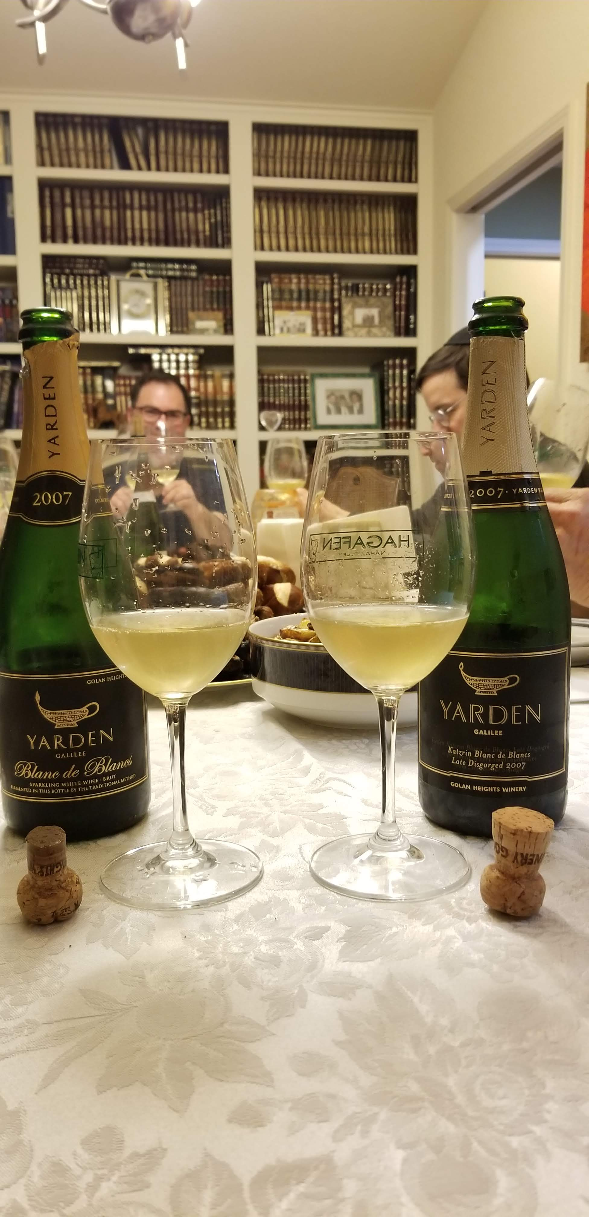 2007 Yarden Blanc de Blancs and 2007 Yarden Blanc de Blancs late disgorged side by side
