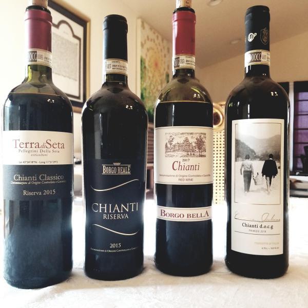 2015 Terra di Seta, Riserva, Chianti Classico, 2015 Borgo Reale Chianti Riserva, 2017 Borgo Bella Chianti, 2018 Cantino Giuliano Chianti