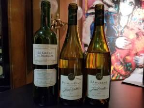 2014 La Chene de Margot (AKA Chateau Bellerive Dubois) Blanc, Blaye Côtes de Bordeaux, 2017 Joseph Mellot Pouilly Fume, 2018 Joseph Mellot Sancerre