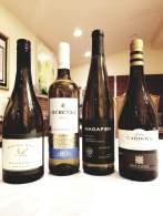 2018 Goose Bay Sauvignon Blanc, 2018 Elvi Wines Herenza White, Alella, 2018 Hagafen Dry Riesling, 2018 Ramon Cardova Albarino