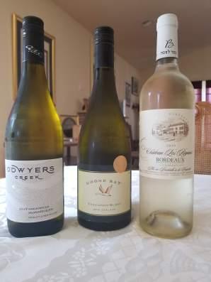 2019 O'Dwyers Creek Sauvignon Blanc, 2019 Goose Bay Sauvignon Blanc, 2019 Chateau Riganes, Blanc